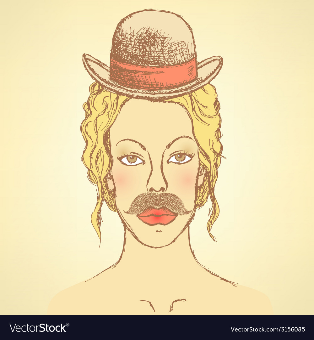 Sketch cute woman with hat and mustache vector | Price: 1 Credit (USD $1)