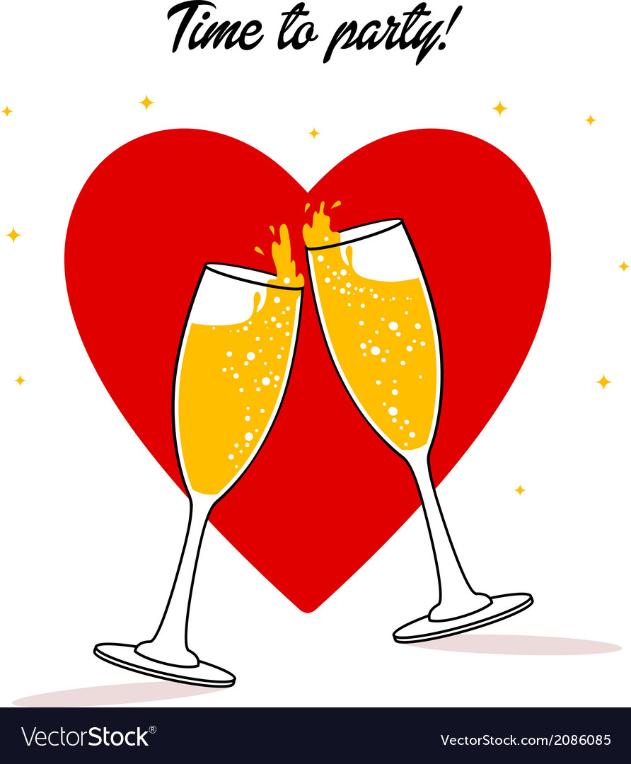 Two glasses of champagne vector | Price: 1 Credit (USD $1)