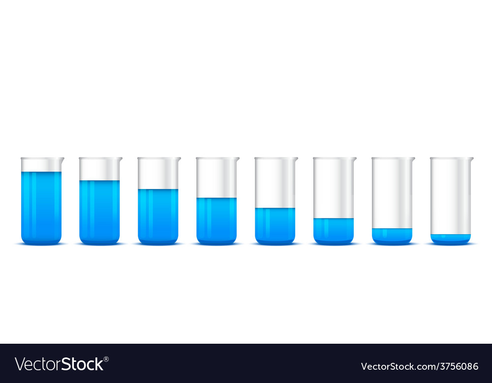 Chemical beakers with gradation of blue solution o vector | Price: 1 Credit (USD $1)