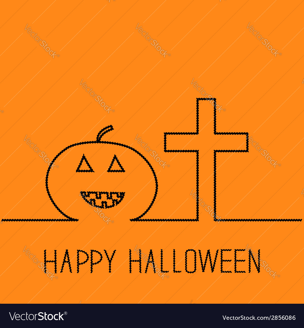 Contour pumpkin and cross happy halloween vector | Price: 1 Credit (USD $1)