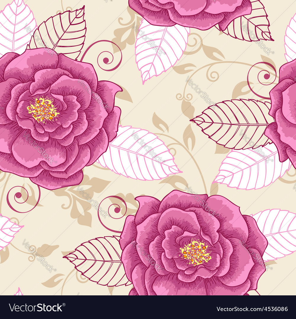 Decorative seamless pattern with pink roses vector | Price: 1 Credit (USD $1)