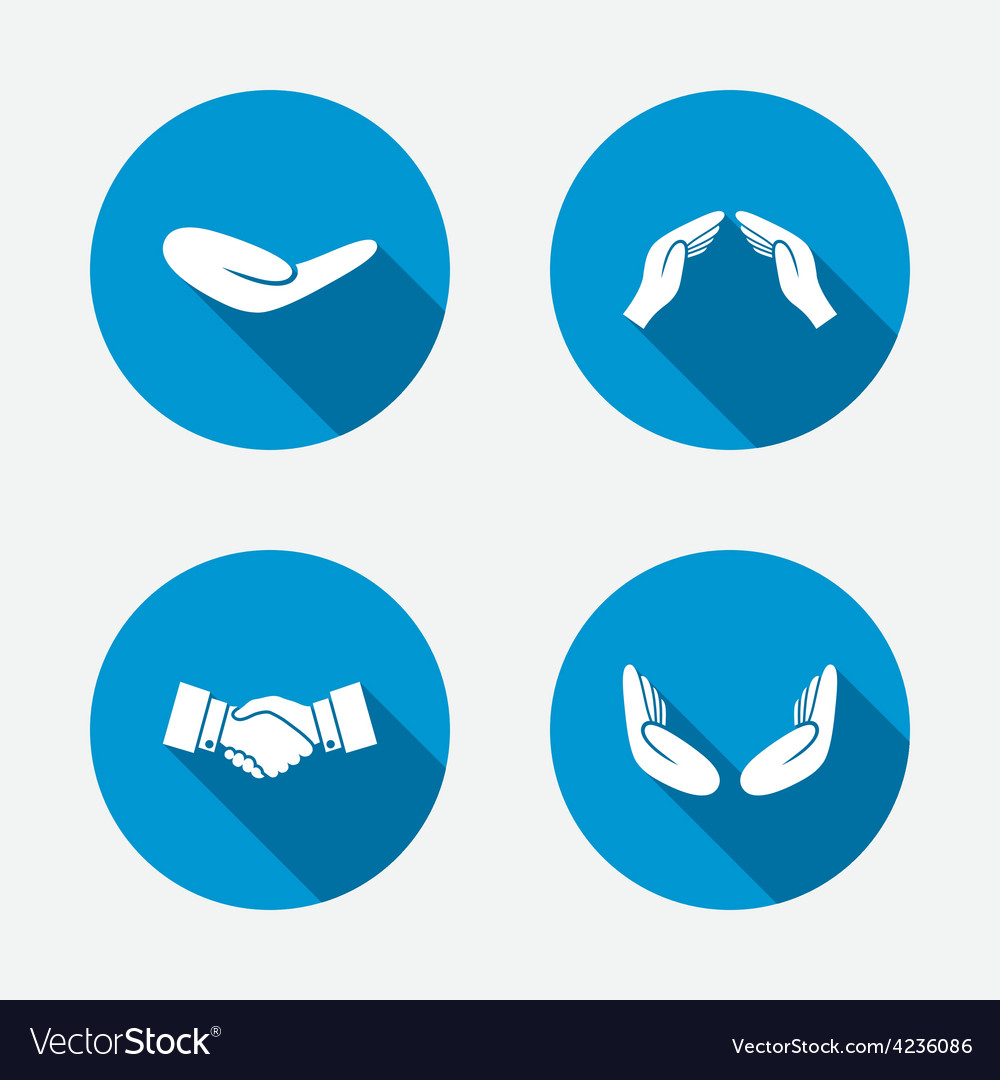Hand icons handshake and insurance symbols vector | Price: 1 Credit (USD $1)