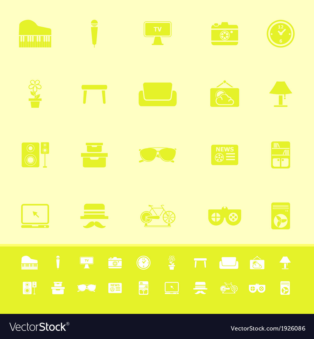 Living room color icons on yellow background vector | Price: 1 Credit (USD $1)