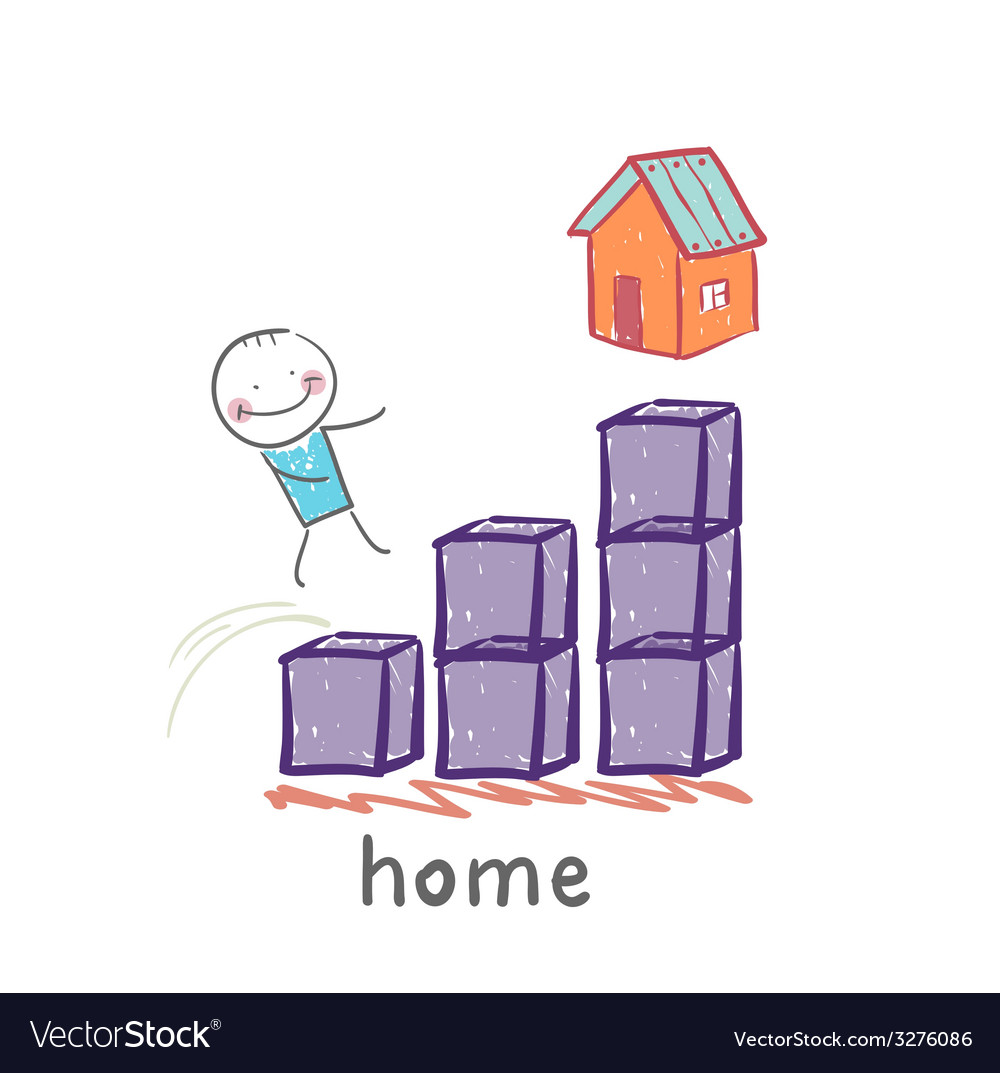 Man running on schedule up to the house vector | Price: 1 Credit (USD $1)