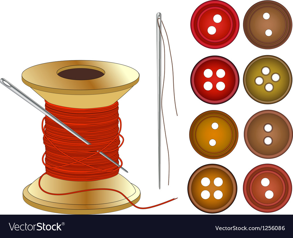Needle coil of red threads and buttons vector | Price: 1 Credit (USD $1)