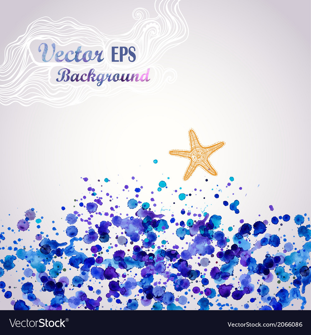 Sea theme watercolor background stain water vector | Price: 1 Credit (USD $1)
