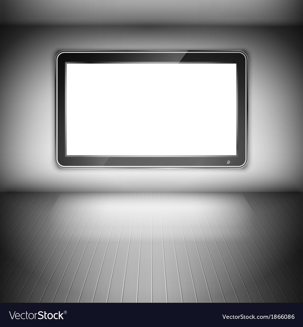 Tv set on the wall in dark room vector | Price: 1 Credit (USD $1)