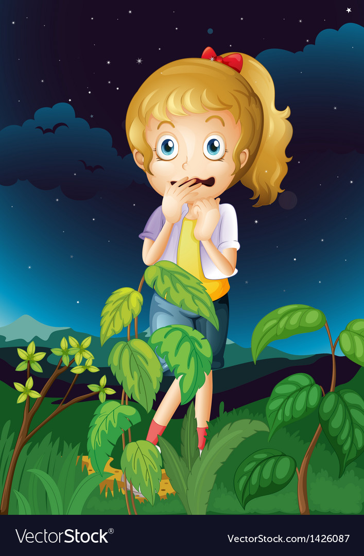 A scared young girl vector | Price: 1 Credit (USD $1)