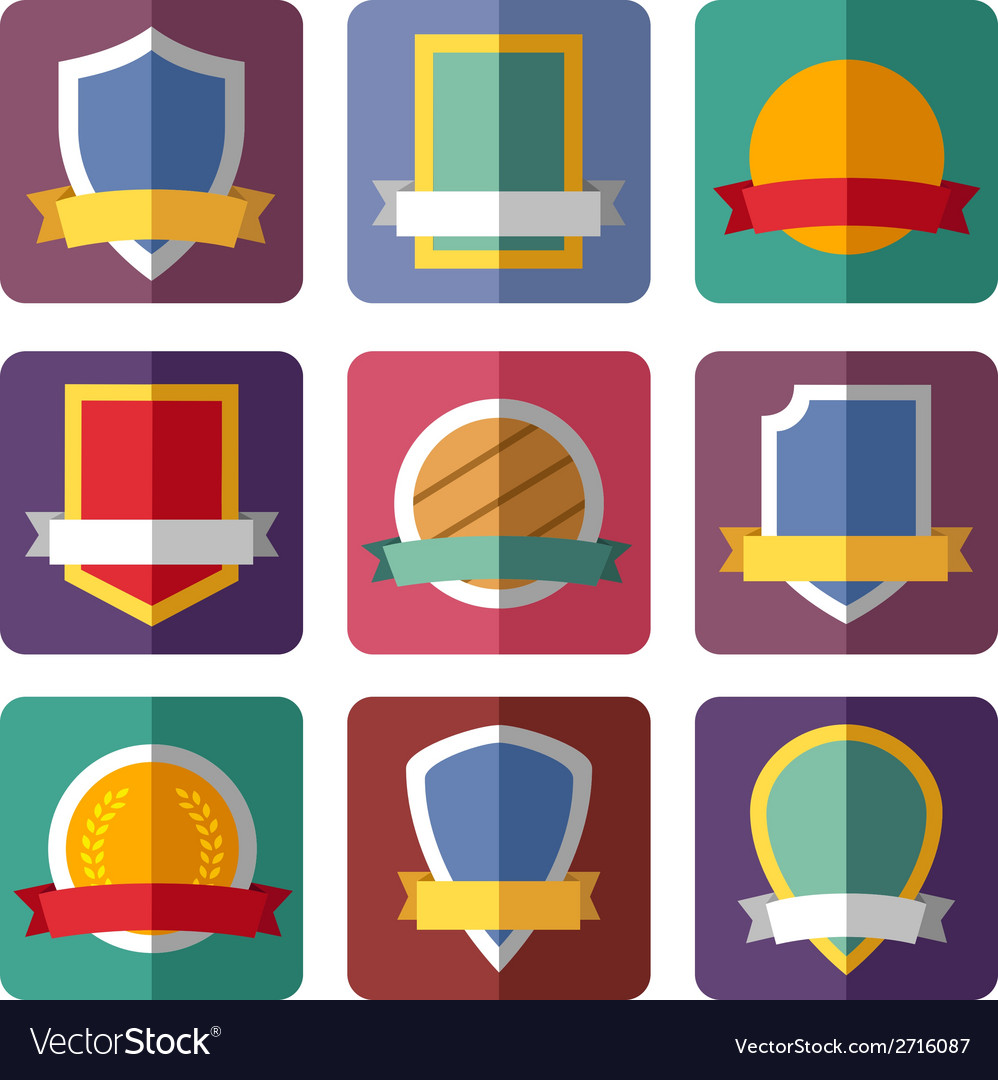 Coats of arms shields ribbons vector | Price: 1 Credit (USD $1)