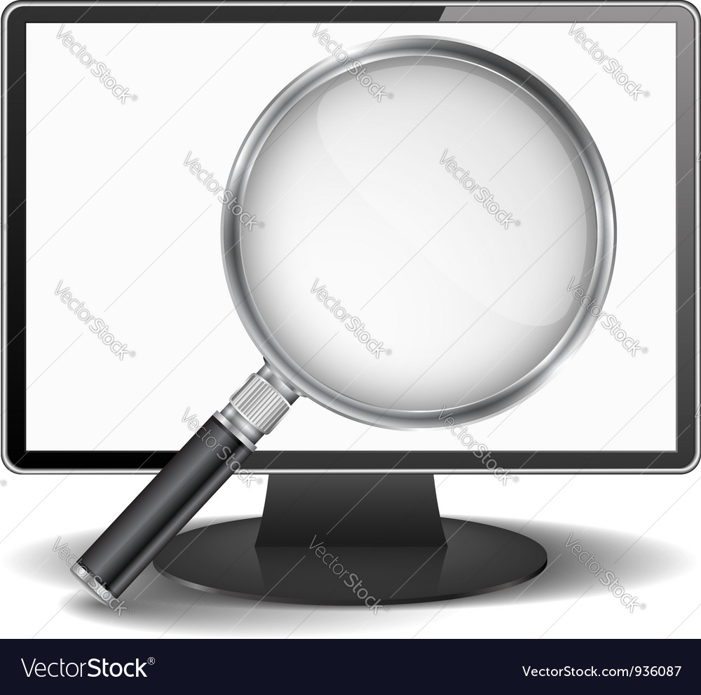 Computer monitor with magnifying glass vector | Price: 1 Credit (USD $1)