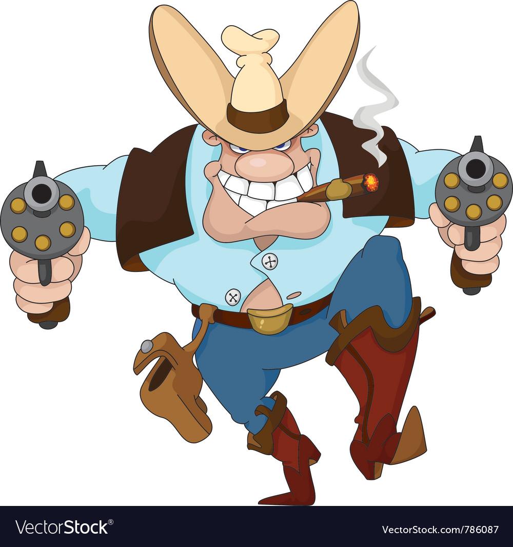 Cowboy with revolvers vector | Price: 1 Credit (USD $1)