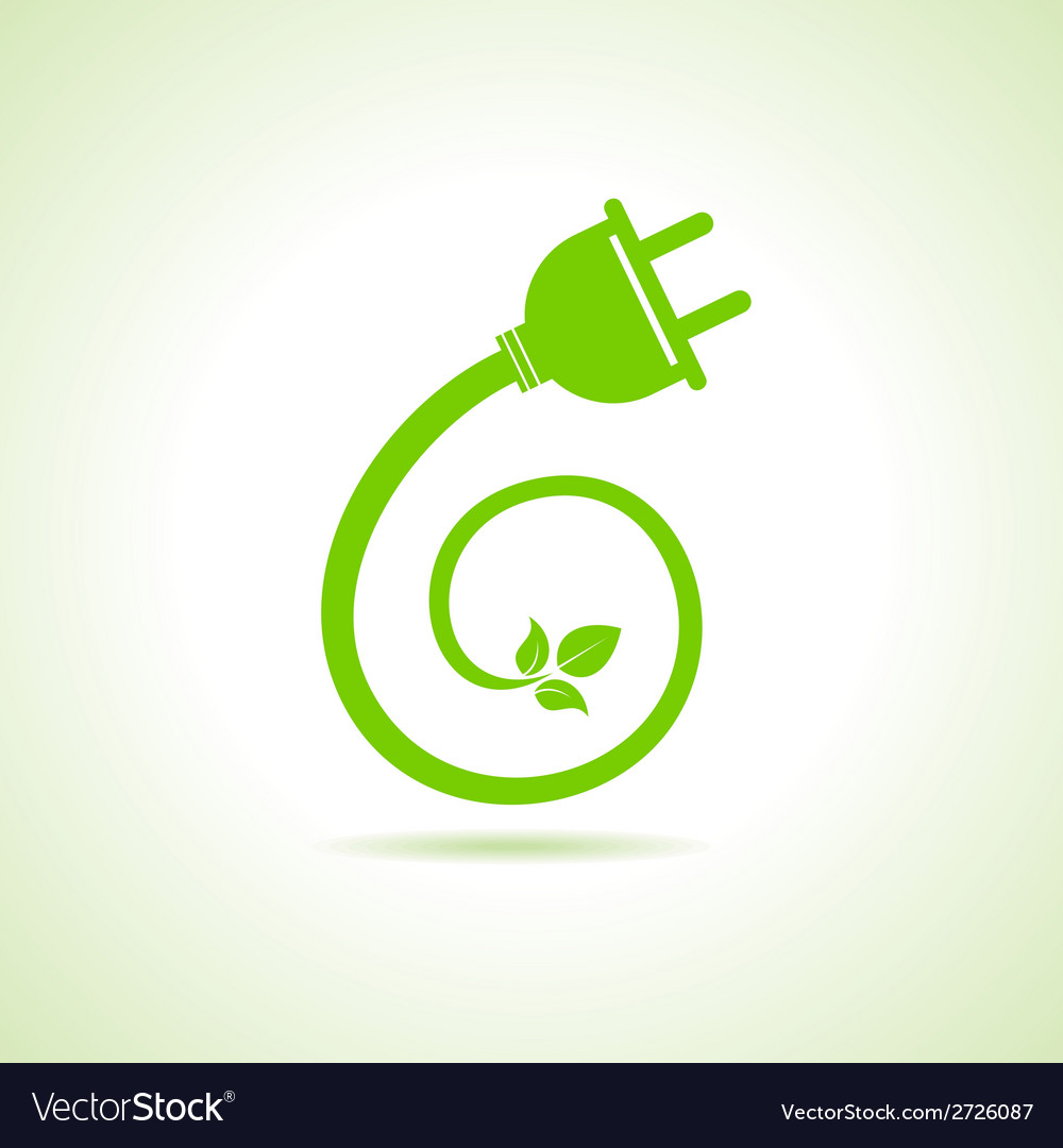 Eco electric plug icon vector | Price: 1 Credit (USD $1)