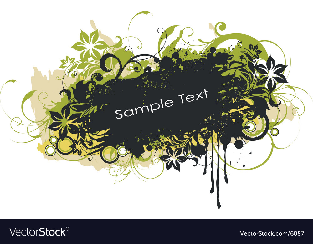 Grunge floral graphic banner vector | Price: 1 Credit (USD $1)