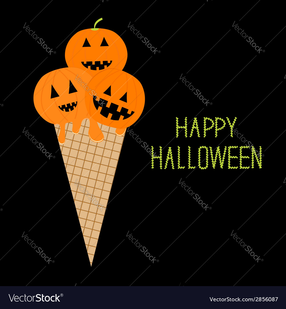 Ice cream with pumpkin happy halloween card vector | Price: 1 Credit (USD $1)