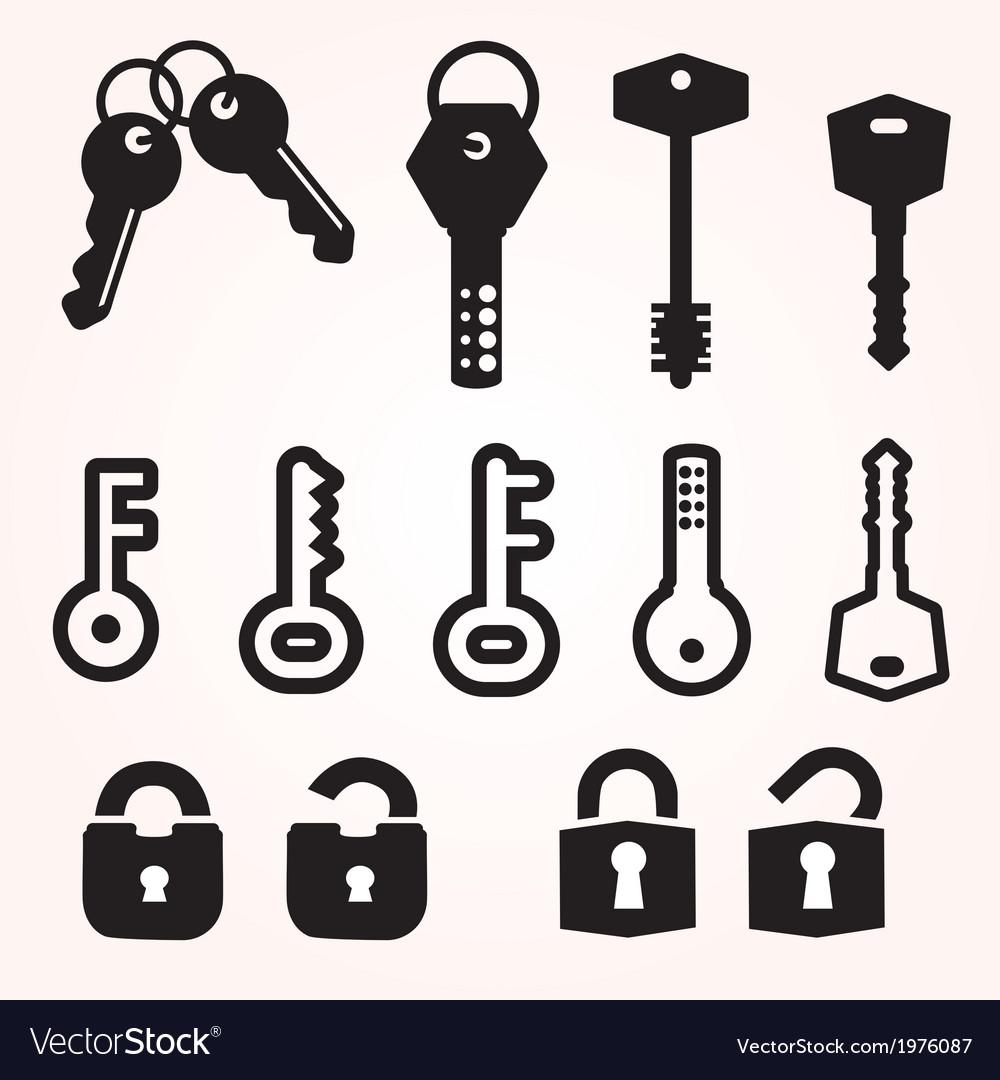 Icon key black silhouette decorative items vector | Price: 1 Credit (USD $1)
