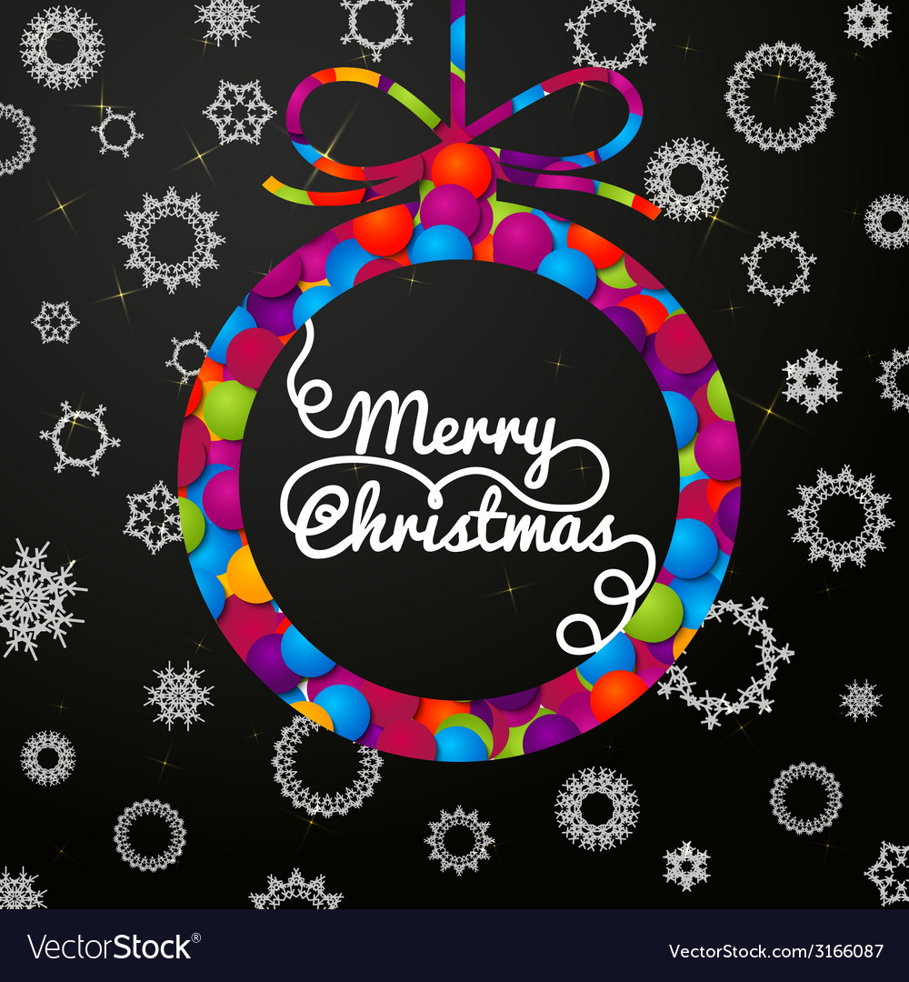 Merry christmas handwritten swirl lettering vector | Price: 1 Credit (USD $1)
