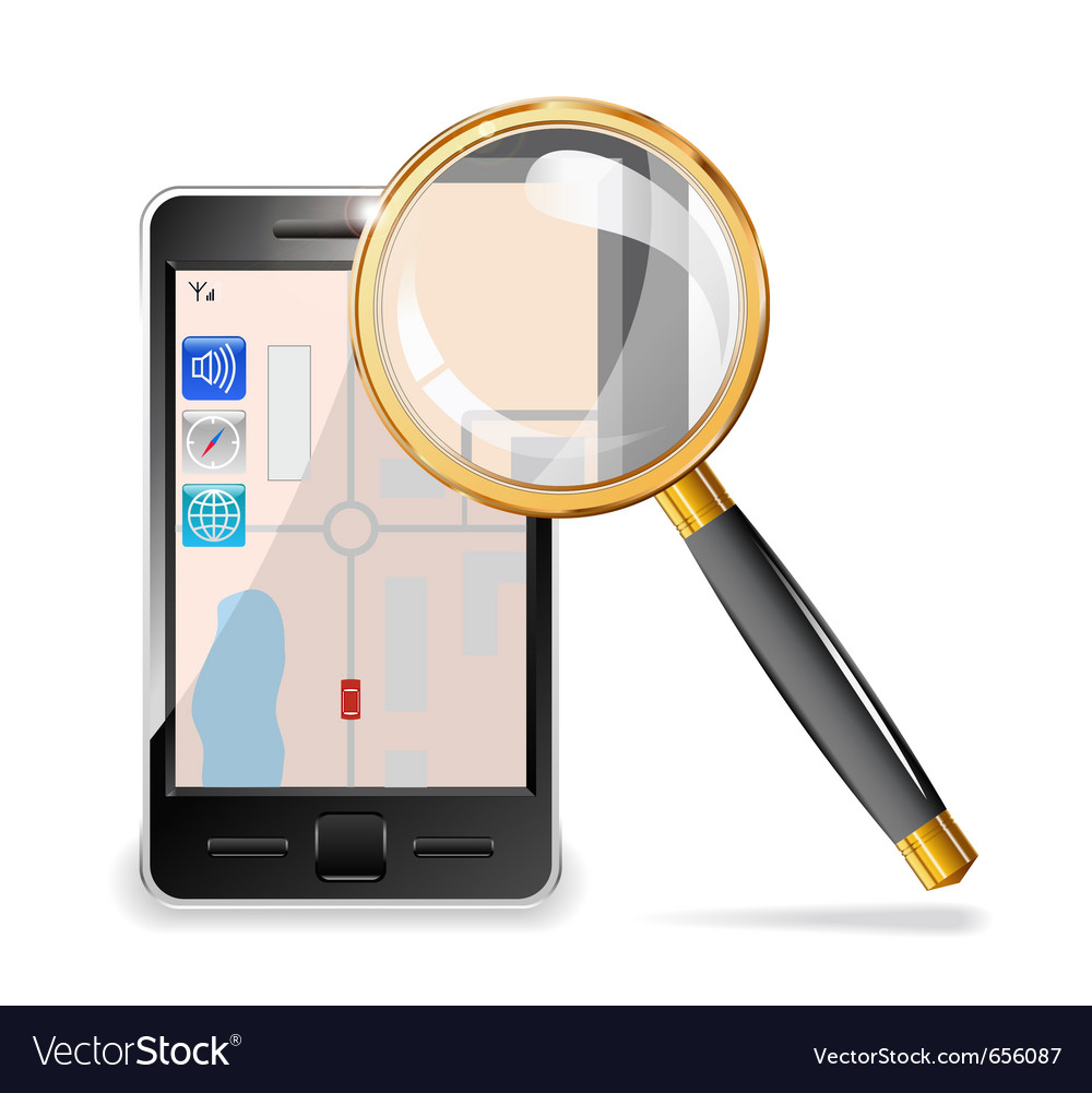 Mobile phone and a magnifying glass vector | Price: 3 Credit (USD $3)