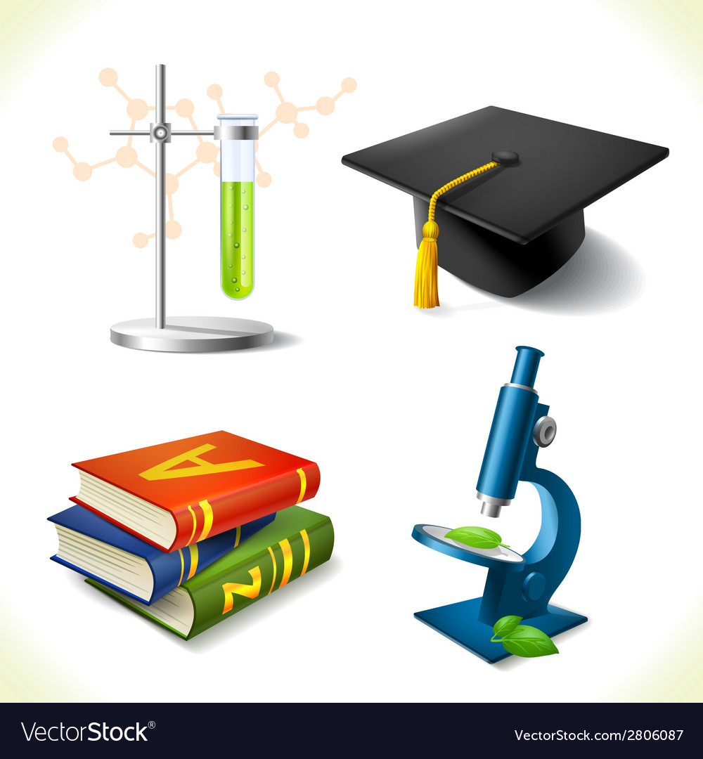 Realistic education icons set vector | Price: 1 Credit (USD $1)