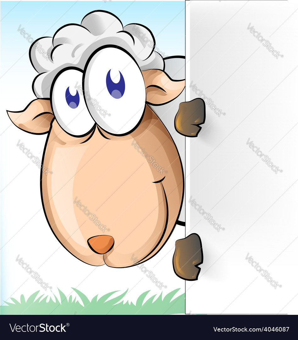 Sheep cartoon with background vector | Price: 1 Credit (USD $1)