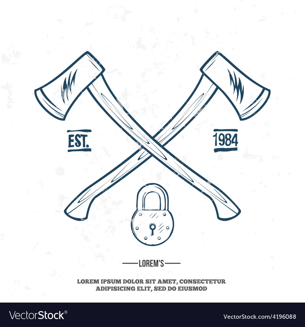 Crossed axes with padlock tshirt print vector