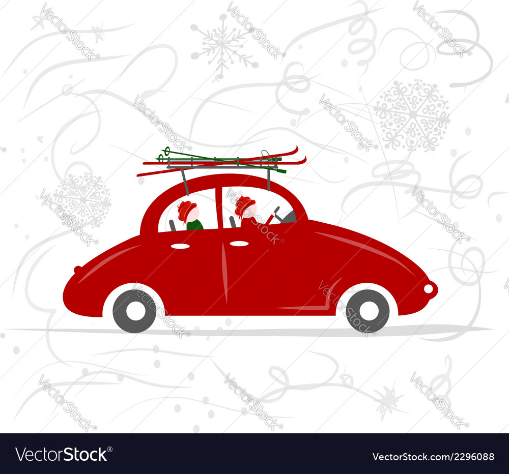 Family traveling by red car with skis vector | Price: 1 Credit (USD $1)