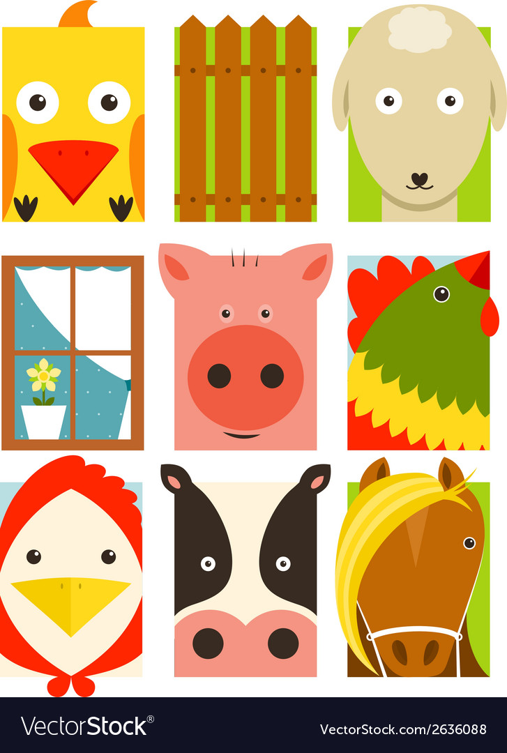 Flat childish rectangular cattle farm animals set vector | Price: 1 Credit (USD $1)
