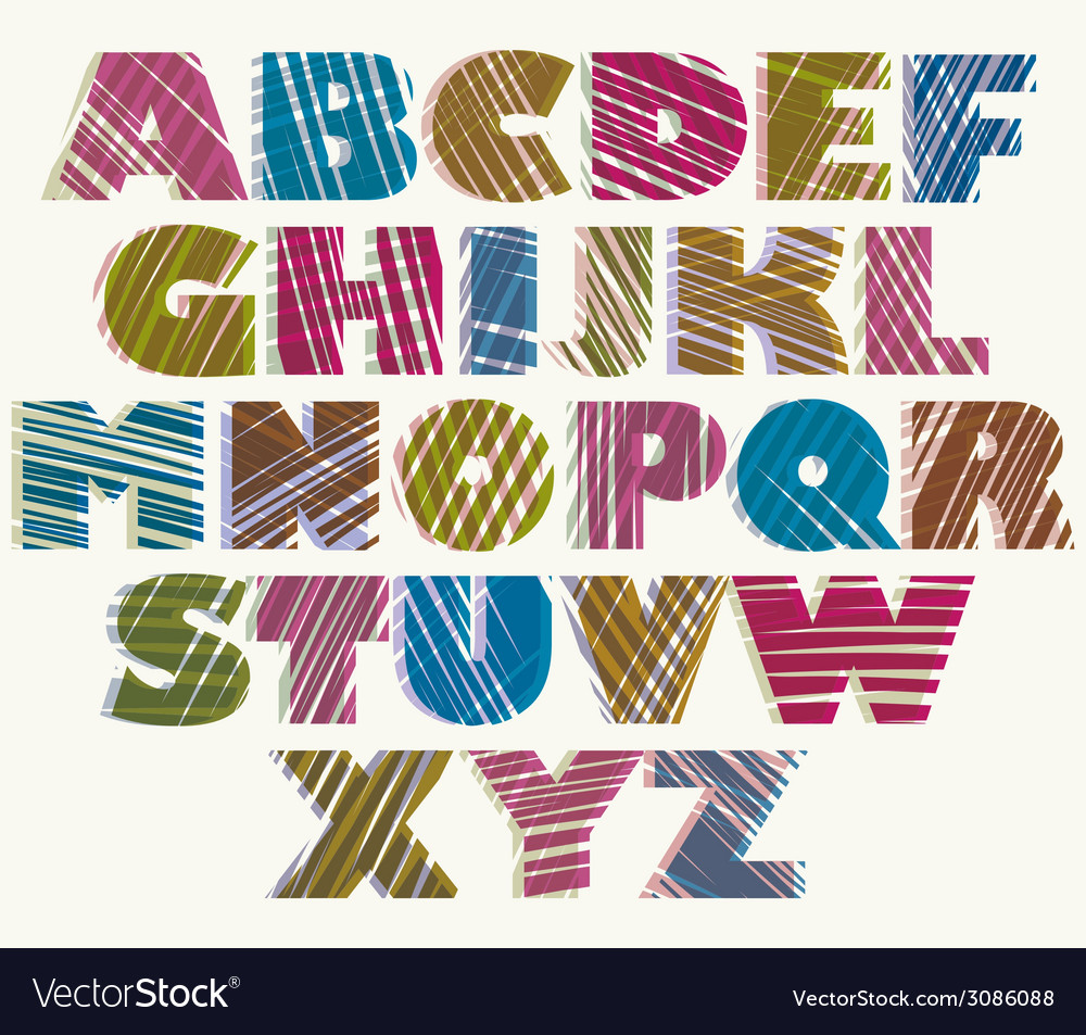 Hand drawn color bold font sketch style alphabet vector | Price: 1 Credit (USD $1)