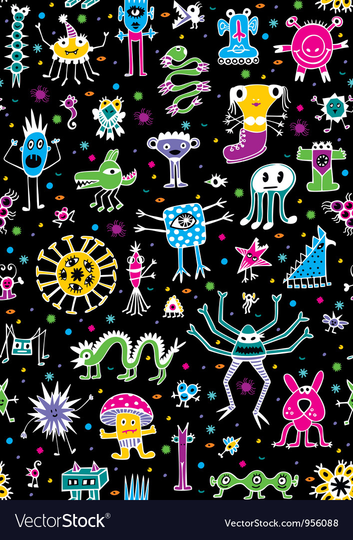 Monsters seamless pattern vector | Price: 1 Credit (USD $1)