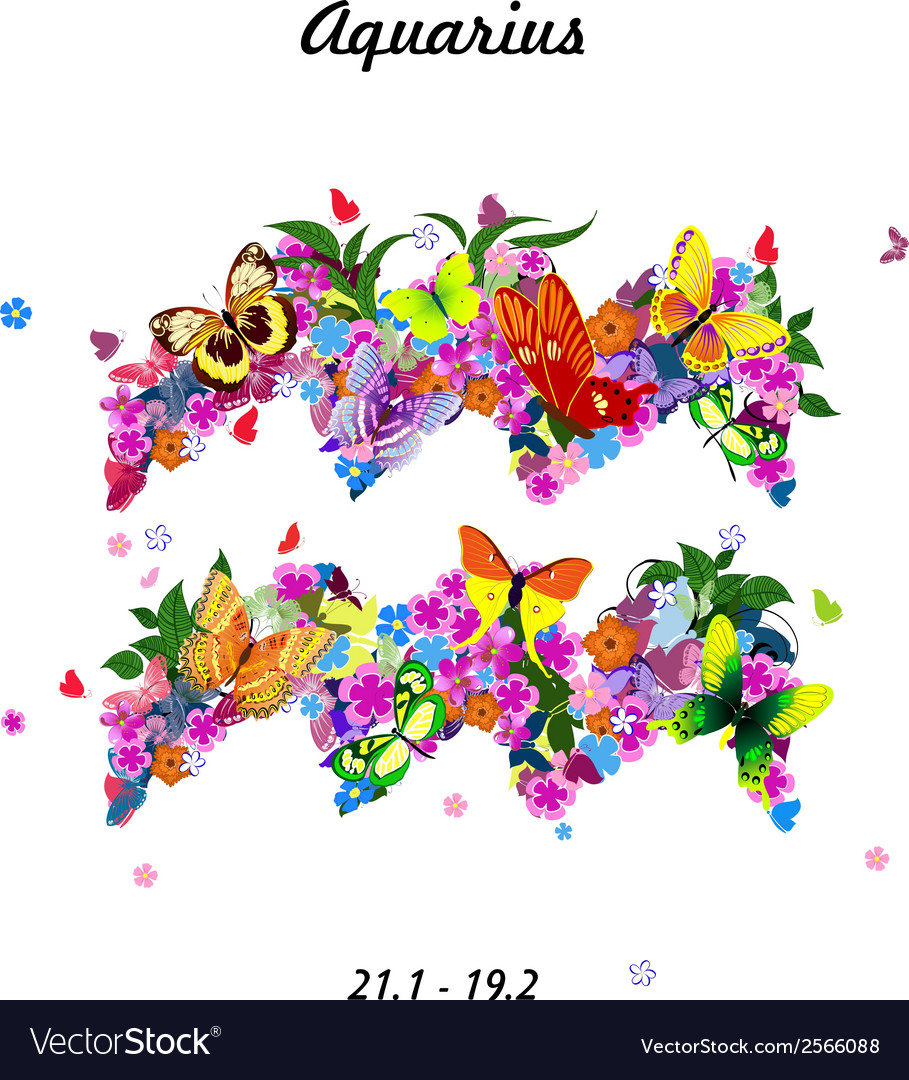 Pattern with butterflies cute zodiac sign - vector | Price: 1 Credit (USD $1)