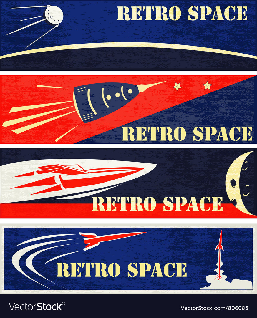 Retro space web banners vector | Price: 1 Credit (USD $1)