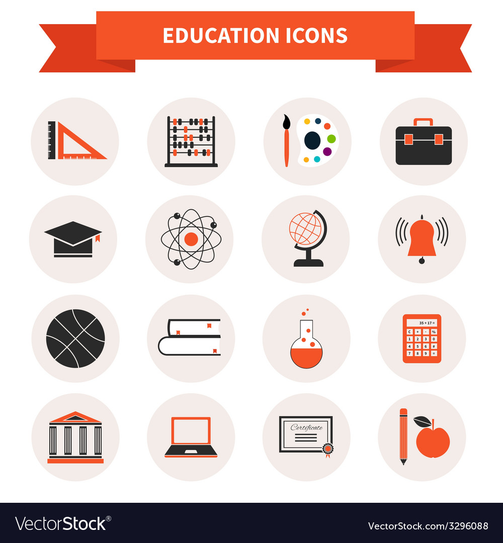 School subject icons vector | Price: 1 Credit (USD $1)