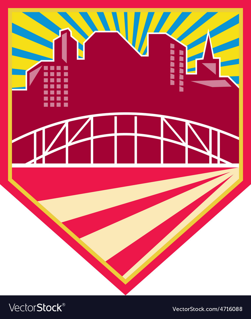 Skyscrapers and bridge retro crest vector | Price: 1 Credit (USD $1)
