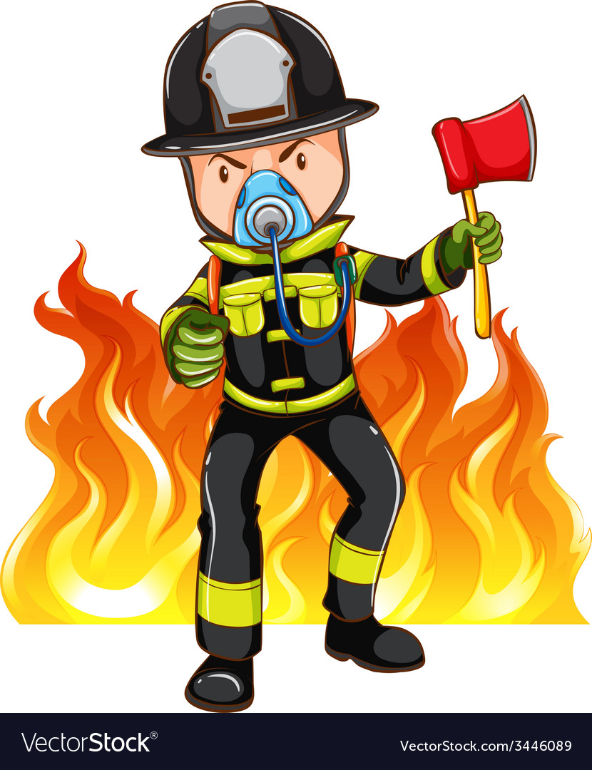 A brave fireman vector | Price: 3 Credit (USD $3)