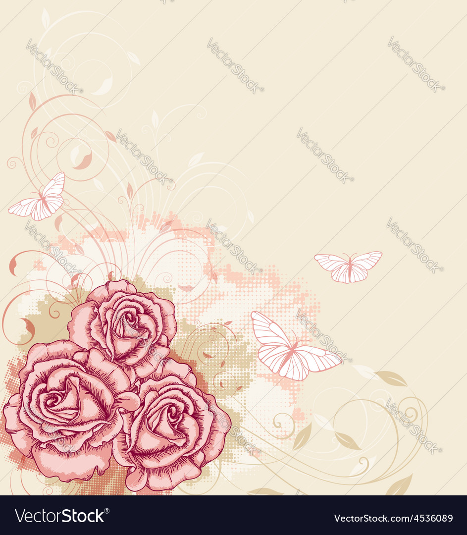 Decorative background with pink roses vector   Price: 1 Credit (USD $1)