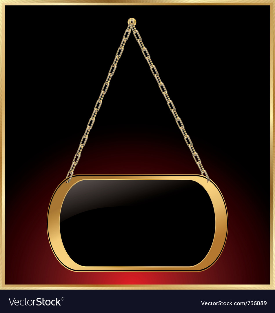 Empty golden medallions linked with golden chain vector | Price: 1 Credit (USD $1)