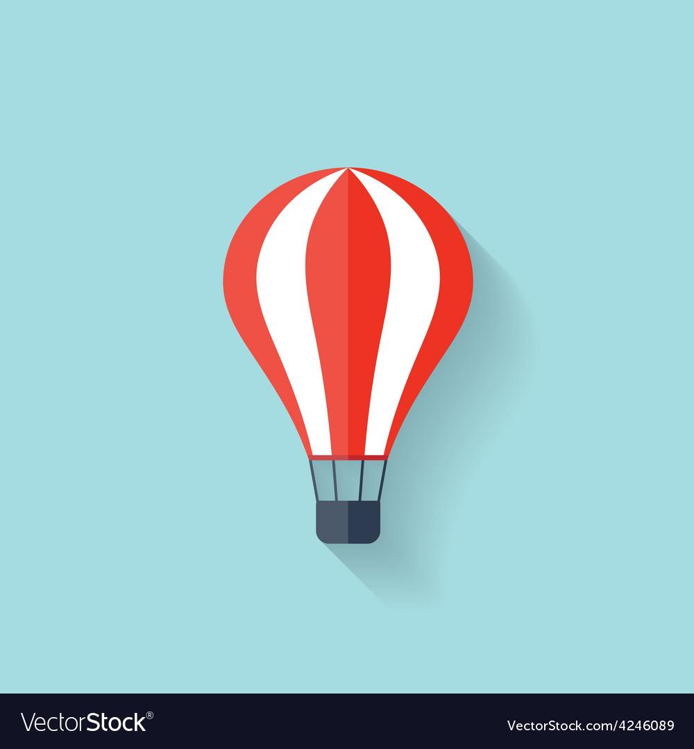 Flat air balloon web icon vector | Price: 1 Credit (USD $1)