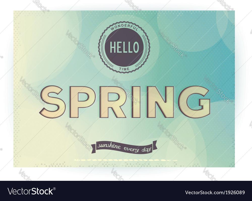 Hello spring retro poster vector | Price: 1 Credit (USD $1)