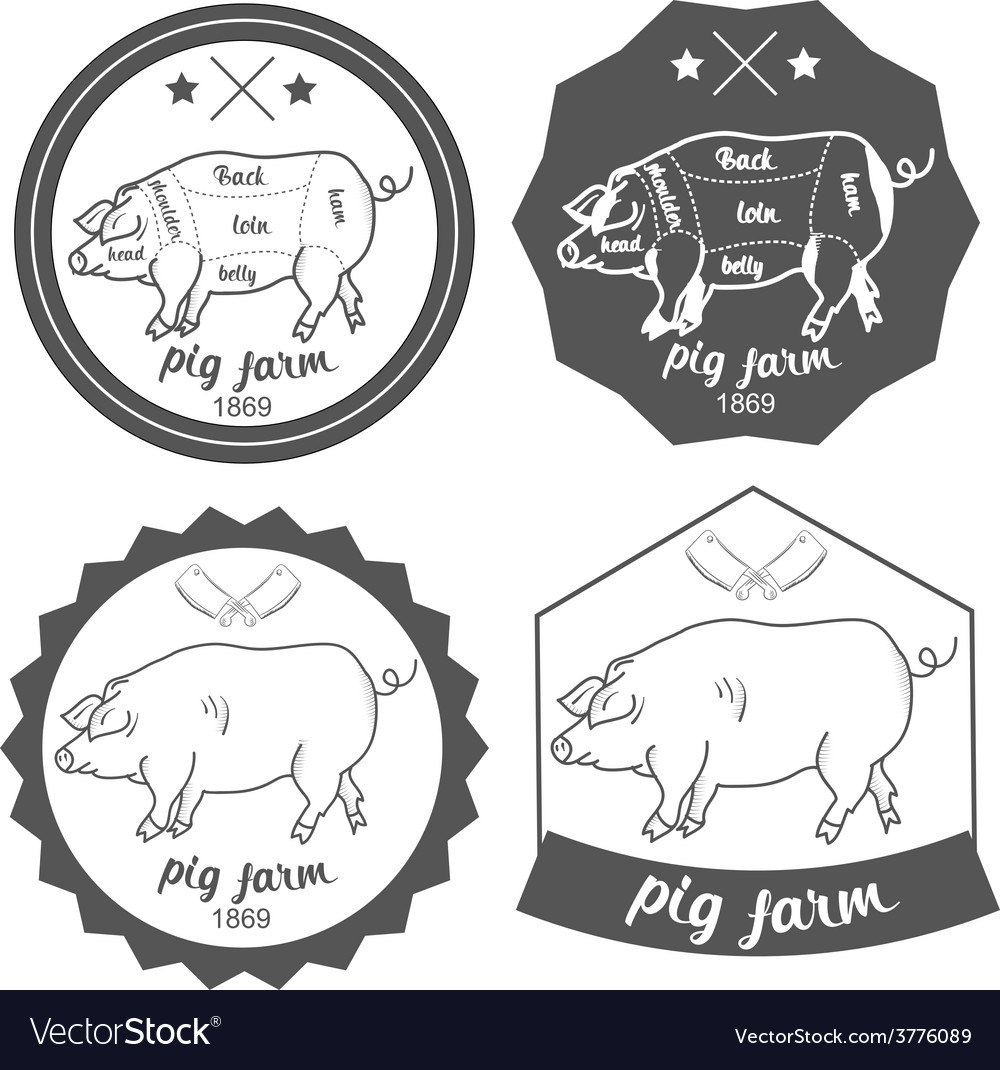 Set of logos pig farm in vintage style vector | Price: 1 Credit (USD $1)