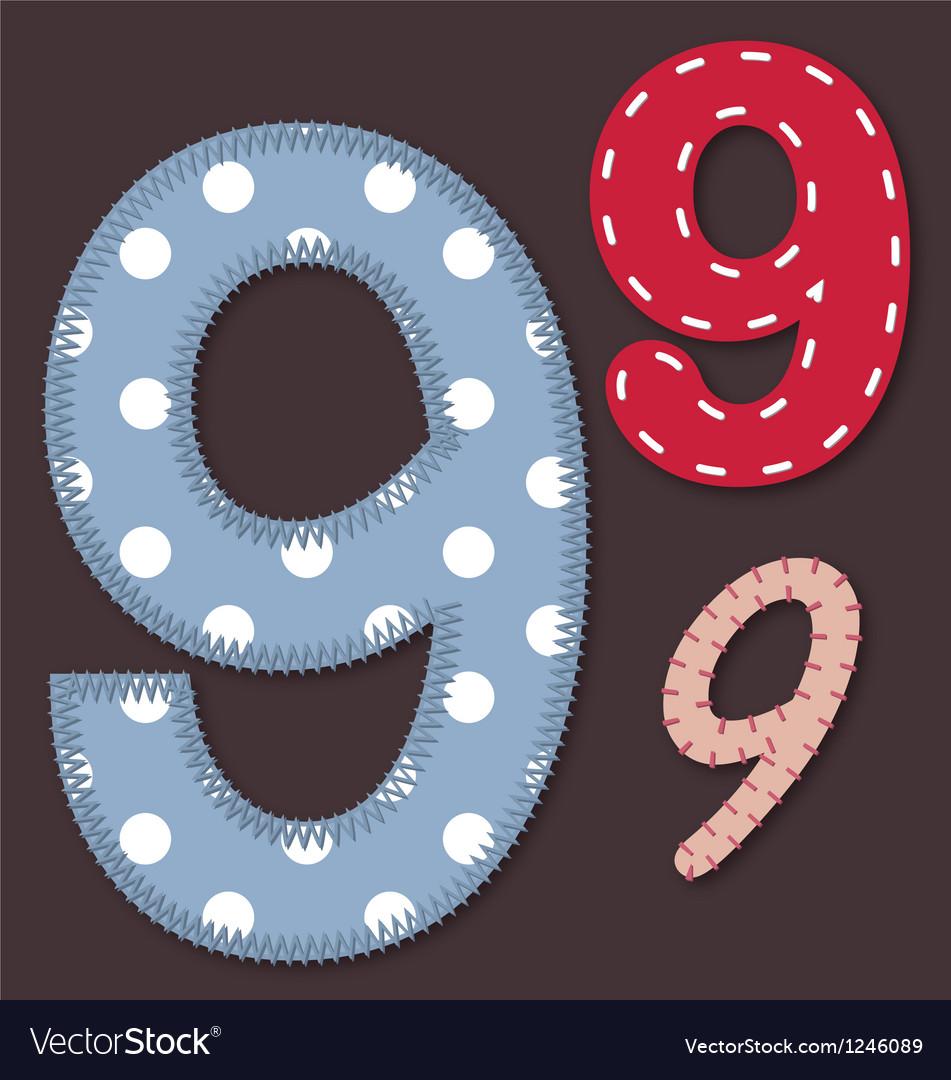 Set of stitched font - 9 nine vector | Price: 1 Credit (USD $1)