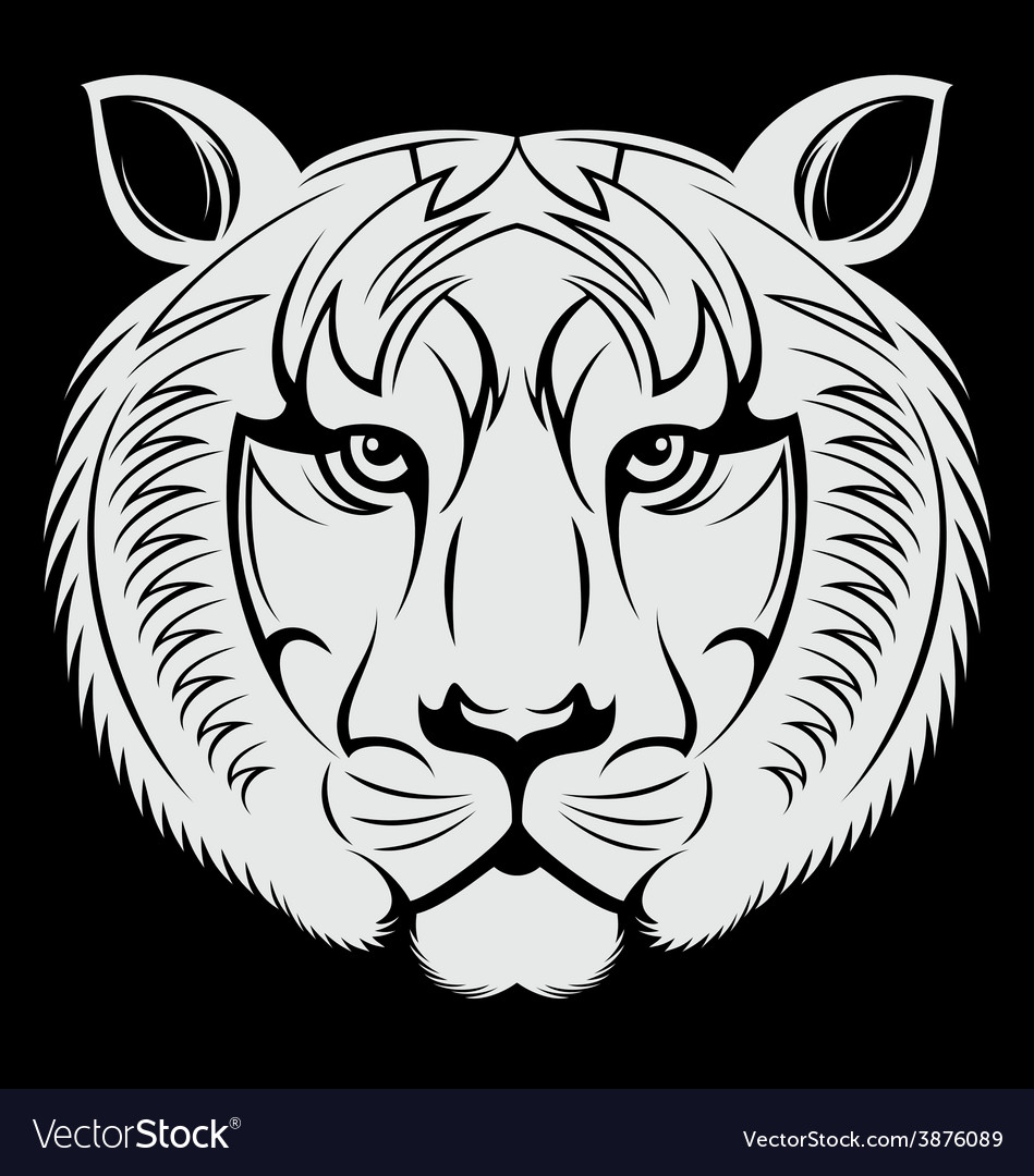 White tiger face vector | Price: 1 Credit (USD $1)