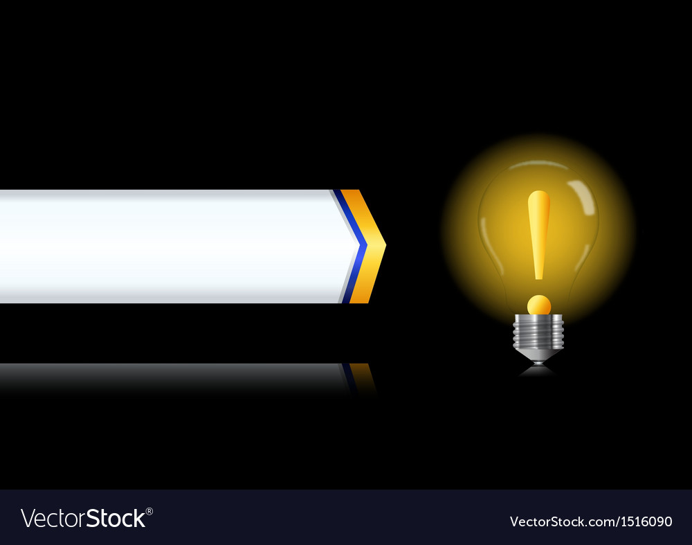 Bulb lamp with attention sign inside vector | Price: 1 Credit (USD $1)