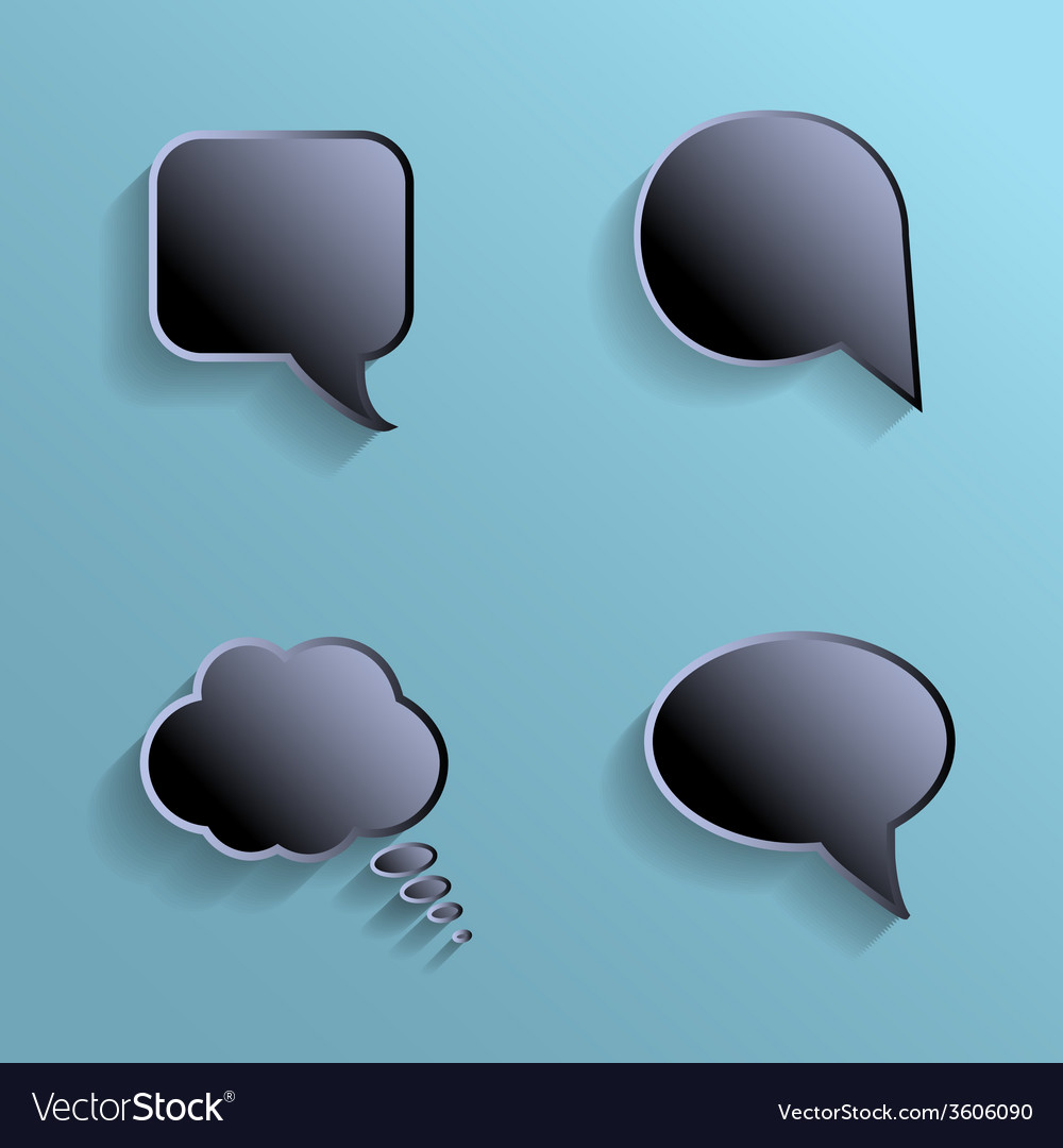 Chat bubbles - paper cut design black color on vector | Price: 1 Credit (USD $1)