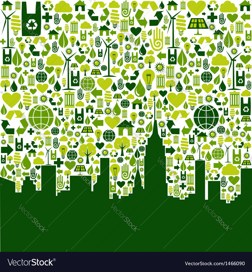 Green city eco icons background vector | Price: 1 Credit (USD $1)