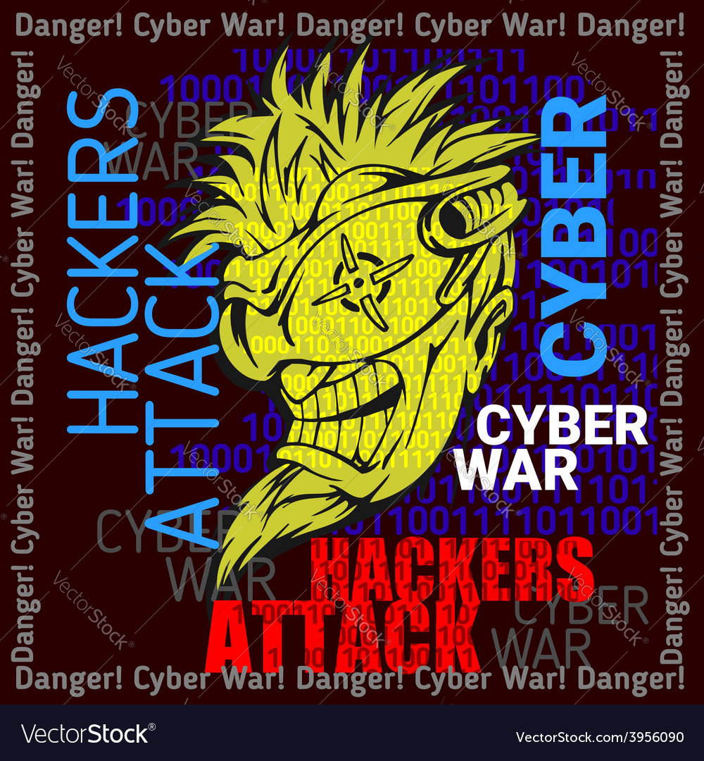 Hackers attack - cyber war sign on digital binary vector | Price: 1 Credit (USD $1)