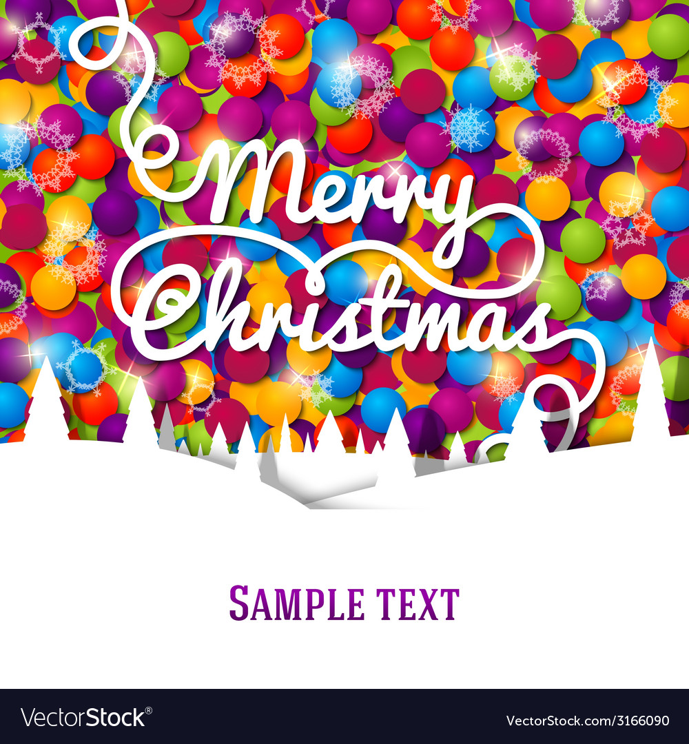 Merry christmas greeting card with swirl lettering vector | Price: 1 Credit (USD $1)