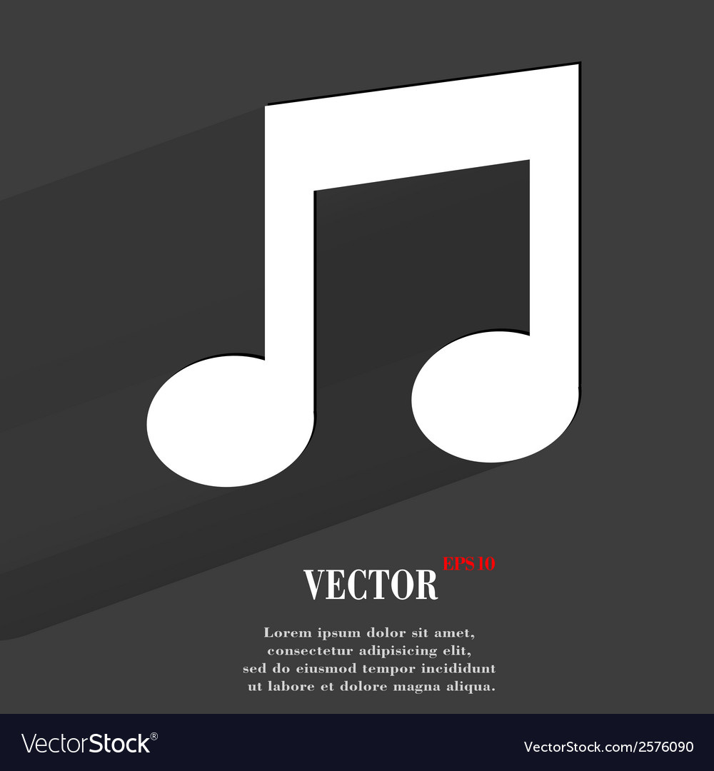 Music note flat modern web button with long shadow vector | Price: 1 Credit (USD $1)