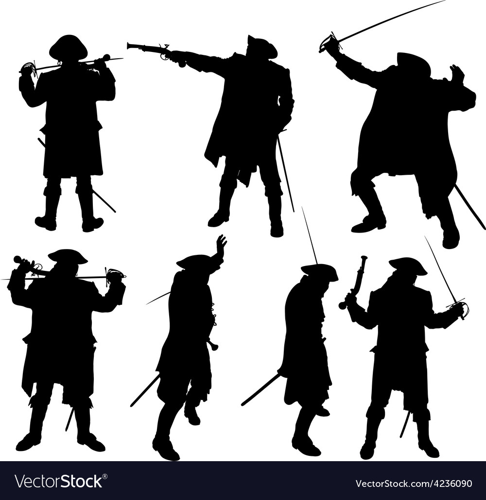Pirate silhouettes vector | Price: 1 Credit (USD $1)