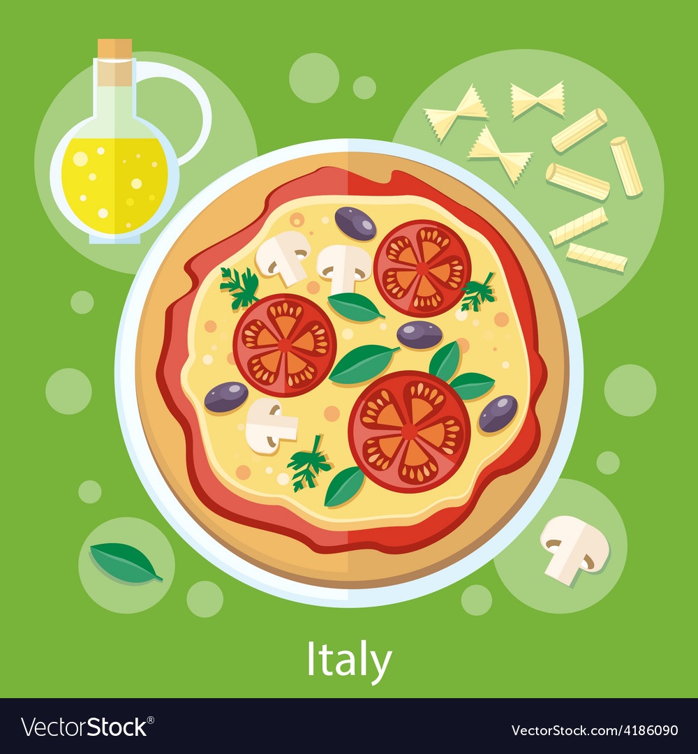 Pizza with its ingredients vector | Price: 1 Credit (USD $1)