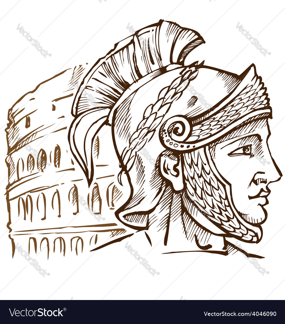 Roman warrior on colosseum background vector | Price: 1 Credit (USD $1)