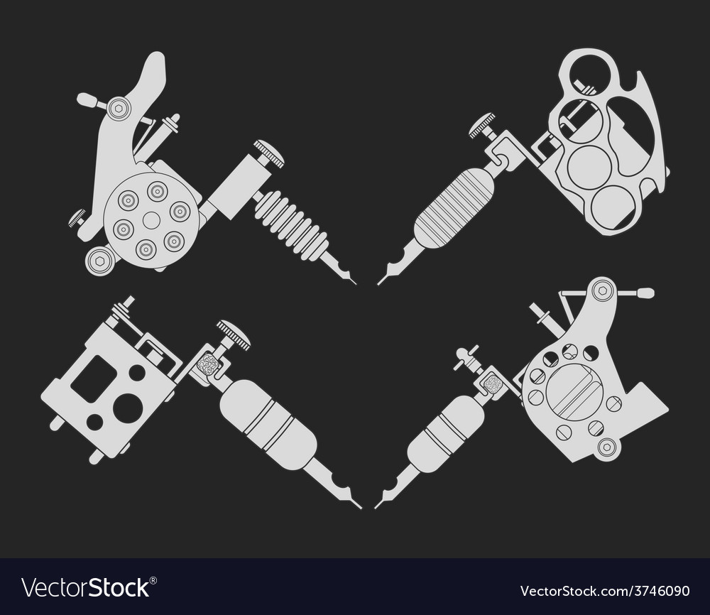 Set of 4 different style tattoo machines chalk vector | Price: 1 Credit (USD $1)